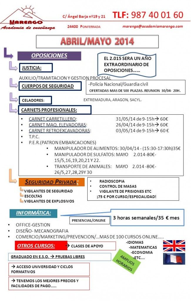 CURSOS ABRIL-MAYO 2014