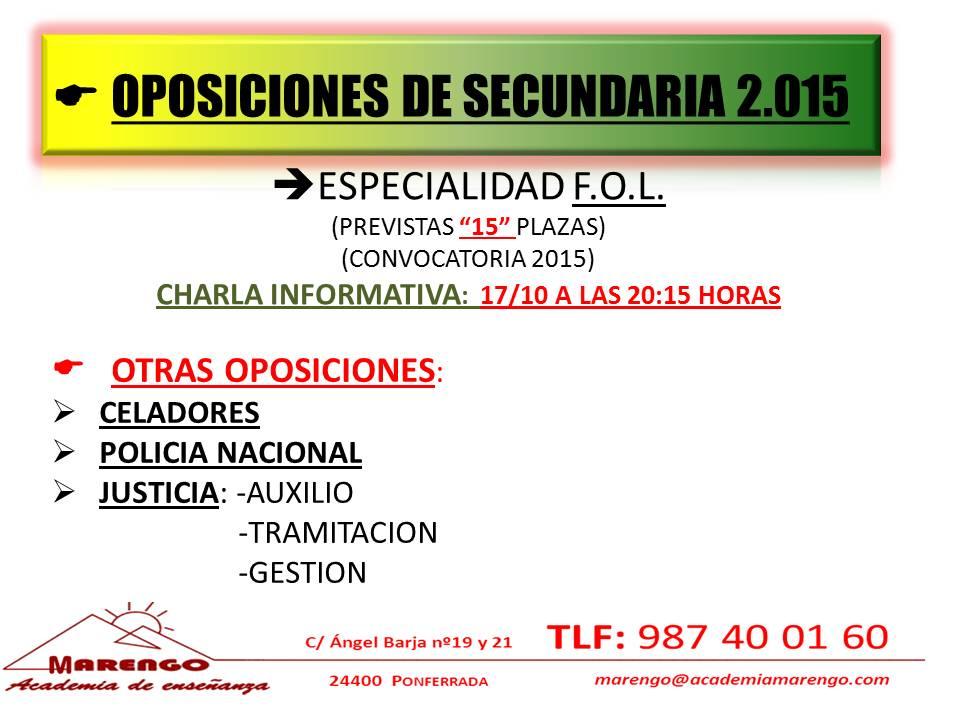 OPOSICIONES SECUNDARIA 2015